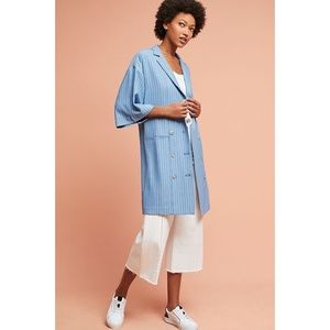 Anthropologie Maeve Oversized Blazer Blue Stripe L